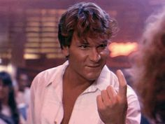 Dirty Dancing...Swayze's best face in the whole movie. wanna see it?   http://viooz.co/movies/371-dirty-dancing-1987.html
