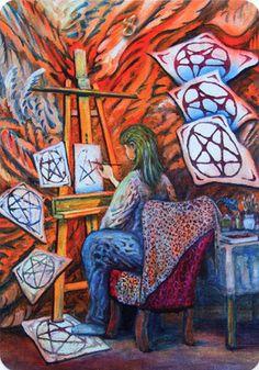 Templar Tarot - Eight of Pentacles - If you love Tarot, visit me at… Pagan Art, Love Tarot, Tarot Card Meanings, Archangel Michael, Pentacle, Oracle Cards, Tarot Decks, Archetypes, Occult