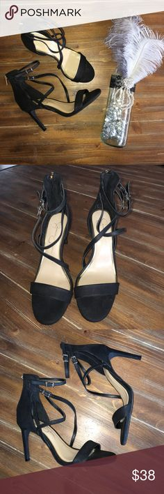 Jessica Simpson strappy black heels Size 8 and in great condition other than a little scuffing on the right heel. Accepting all reasonable offers!! Jessica Simpson Shoes Heels