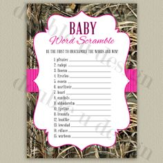 Its a girl camo baby shower invitation etsy listing at httpswww instant download camouflage baby word scramble with hot pink accents more colors available filmwisefo
