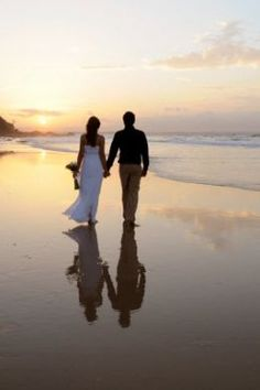 LOVE the reflection in the sand. So romantic and beautiful. First beach stroll as husband and wife. #YourDreamDay
