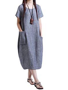 MatchLife Femmes O-Cou Top Manches Courtes Robe-Style3-Bleu-2XL