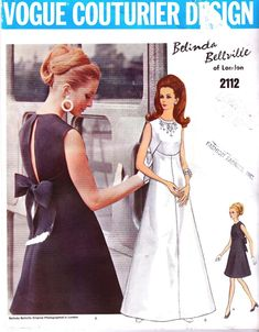 Vintage Sewing Patterns - Vogue 2112 Vintage Vogue Couturier BELINDA BELLVILLE of London Evening DRESS or Bridal Gown Sewing Pattern. Pattern 2112 has been cut and is complete. Size 10 which will fit a 32 bust and a 34 hip. Vintage Outfits, Robes Vintage, Vintage Dresses, 1960s Dresses, Vintage Clothing, Evening Dress Patterns, Vintage Dress Patterns, Evening Dresses, Vintage Vogue