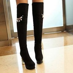 Womens Shoes Round Toe Chunky Heel Over The Knee Boots More Colors  available