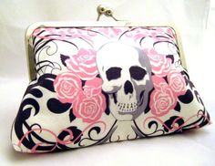 SKULLS - Pink Girly Skull and Roses Clutch