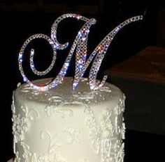 DIY Monogram cake topper with crystals