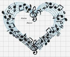 Cross Stitch Music, Cross Stitch Heart, Cross Stitch Alphabet, Cross Stitch Flowers, Cross Stitch Designs, Cross Stitch Patterns, Cross Stitching, Cross Stitch Embroidery, Beading Patterns