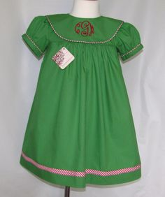 Green Christmas dress monogram Girl's by MonogrammedClothing