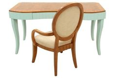 Scalloped Walnut Desk & Chair