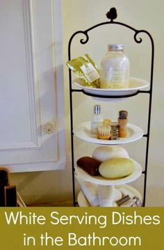 Keep clutter off the bathroom counter and use a three tier serving dish!