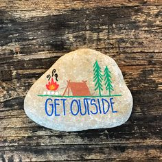 Get outside. Camping doodle painted rock. Kindness rocks.