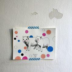 dva čuníci pro Lů / two pigs for Lů Pigs, Paintings, Paint, Pork, Painting Art, Painting, Painted Canvas, Drawings, Grimm