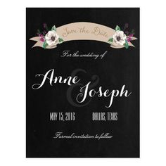 Garden Wedding Save the Date Rustic Flowers black Save the Date Postcard