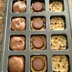 Press refrigerated cookie dough in the bottom of wells. Add Reese's® Peanut butter cup, then top with prepared brownie mix. Bake @ 350 degrees until done (about 18 min)!