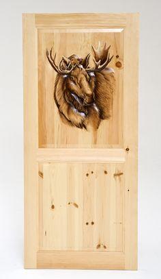 """Hand Carved & Painted Door with Moose 30""""W to 36""""W x 80""""T Item # DOOR00124 Interior Knotty Pine 2 Panel Door with carved upper panel- $2495 Item # DOOR00125"""