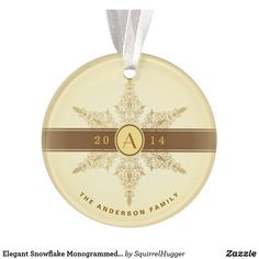 Shop Elegant Snowflake Monogrammed Christmas Ornament created by SquirrelHugger. Photo Christmas Ornaments, Christmas Photos, Christmas Gifts, Golden Anniversary Gifts, Monogram Initials, Antique Gold, Vintage Antiques, Snowflakes, Elegant