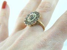 Georgian Bohemian garnet & natural pearl ring looks stunning on Dainty Bracelets, Dainty Earrings, Dainty Ring, Dainty Jewelry, Seed Pearl Ring, Vintage Silver Rings, Gold Solitaire Ring, Garnet Earrings, Gold Pearl