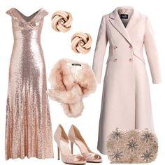 L'abito da sera lungo con paillettes è accompagnato dal cappotto doppiopetto e dalle open toe color nude. La clutch con applicazioni è rosa e la sciarpa in pelliccia è rosa cipria. Completano il look gli orecchini in argento color oro rosa.