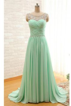 Mint Beaded Charming Backless Cheap Long Chiffon Prom Dresses OK24