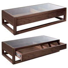 Rectangular display coffee table dark oak