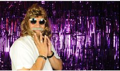 #photobooth backdrop idea : purple metallic fringe, niiice! The Confetti Booth | Cindys Retirement Party Photo Booth | Denver, CO #99