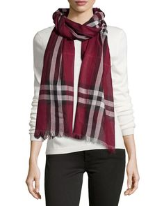 BURBERRY Giant-Check Wool/Silk Scarf, Purple. #burberry #