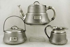 Wood & Hughes Japanesque style sterling silver tea service (teapot, sugar and creamer) in the form of traditional woven baskets, c1845 (supershrink)