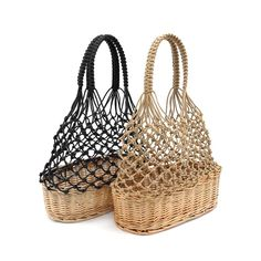 Crochet Woven Tote Wooden Bag width depth Length ( ) Top carry handles Cotton / wood Inner bag with drawstring closure Bamboo Weaving, Willow Weaving, Basket Weaving, Wooden Bag, Macrame Bag, Basket Bag, Macrame Patterns, Boho Diy, Knitted Bags