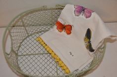 Hand made butterfly applique towel with yellow pom pom trim. Applique Towels, Pom Pom Trim, Kitchen Towels, Cool Kitchens, Butterfly, Trending Outfits, Yellow, Unique Jewelry, Handmade Gifts