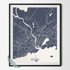 Galway Print, Ireland Poster, Galway Map, Galway Poster, Ireland Print, Ireland Map, Street Map, Home Decor, Independence Day