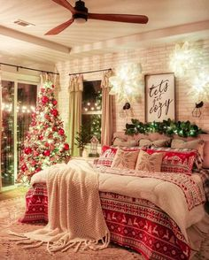 Merry Christmas From Our Home To Yours: 70 Christmas Decor Ideas - christmas bedroom