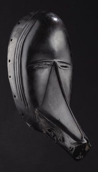 African: , Mao (or Toura) (Côte d'Ivoire). Face Mask. Wood, nails, metal, hidewith hair, pigment. Height: 11 7/8 inches Width: 5 ½ in...