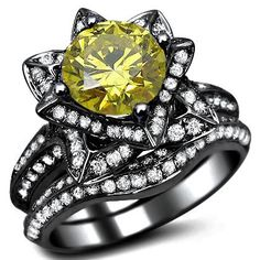 2.51ct Canary Yellow Diamond Lotus Flower Engagement Ring Set 14K Black Gold With A 1.06ct Center Diamond and 1.45ct of Surrounding Diamonds