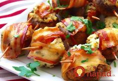 Houbové bombičky obalené ve slanině Party Dishes, Baked Potato, Stuffed Mushrooms, Brunch, Food And Drink, Low Carb, Menu, Snacks, Chicken