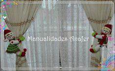 Manualidades Anafer: Cortineros Navideños Crafts To Make And Sell, Santa, Curtains, Relleno, Home Decor, Crochet, Ideas, Christmas Deco, Christmas Chair