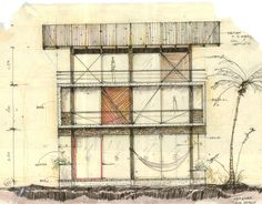 Image 32 of 33 from gallery of Guatemala Beach House / Christian Ochaita + Roberto Gálvez. Revit Architecture, Paper Architecture, Bamboo Architecture, Architecture Drawings, Conceptual Sketches, Drawing Sketches, Sketching, Guatemala Beaches, Invisible Cities