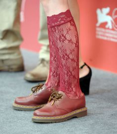 Love the combination of red stockings and Doc Martens…