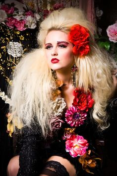 Beautifully Romantic Multi Floral and Roses Vintage Black beaded jacket julietsdream
