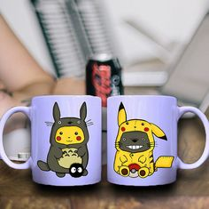 mug totoro pikachu 2  for mug ceramic mug by NiceMugs on Etsy, $15.87 I WANT THIS!!