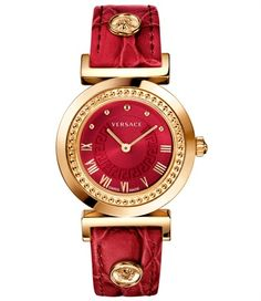 Vanity Red Strap by Versace for Women's Watches. A brand-new collection for women joins the Versace line of watches: Vanity. Elegant Watches, Stylish Watches, Beautiful Watches, Luxury Watches, Cool Watches, Rolex Watches, Watches For Men, Ladies Watches, Versace Watches
