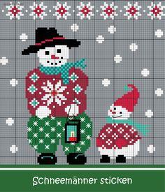 Schneemänner sticken #Sticken #Kreuzstich / #Winter / #Schneemann; #Embroidery #Crossstitch / #winter / #snwoman / #ZWEIGART