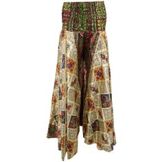 Mogulinterior Women's Maxi Skirt Yellow Printed Vintage Boho Long... ($18) ❤ liked on Polyvore featuring skirts, bohemian style skirts, maxi skirt, brown skirt, yellow skirt and long bohemian skirts