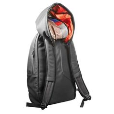 Hooded backpack.