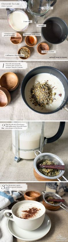 I've been drinking this Chamomile Tea Latte every time I want a non-caffeinated drink. The cloves and vanilla extract add a nice depth of flavor and the froth created from the French press creates the perfect texture.