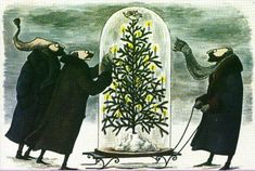 Christmas Under Glass by Edward Gorey (and this is the illustration on my Holiday Cards this Year! Edward Gorey, Tim Burton, Wells, Monet, Vladimir Kush, Portraits, Ghost Stories, Christmas Art, Xmas