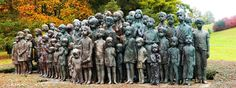 "A sculpture from the by academic sculptor Marie Uchytilová stands today overlooking the site of the old village of Lidice. Entitled ""The Memorial . Children of Lidice Worlds Largest, Garden Sculpture, All About Time, Old Things, Around The Worlds, Deviantart, Children, Amazing, Outdoor Decor"