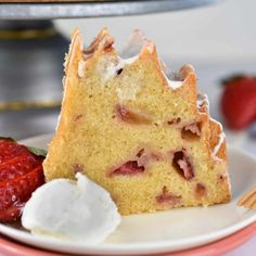 Strawberries and Cream Bundt Cake Canned Frosting, Pound Cake Recipes, Easter Dinner, Bundt Cakes, Piece Of Cakes, Strawberries And Cream, Sweet Stuff, Pastries, Baked Goods