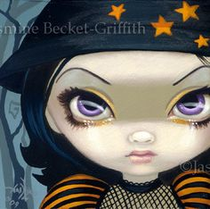 Faces of Faery 33 halloween witch big eye fairy face art print by Jasmine Becket-Griffith 6x6