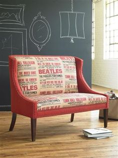 Beatles Mixed Media Settee by Vanguard Furniture. Furniture, Room, Home, Traditional Dining Room, Eclectic Dining Chairs, Vanguard Furniture, Interior Design, Cool Chairs, Beatles Room
