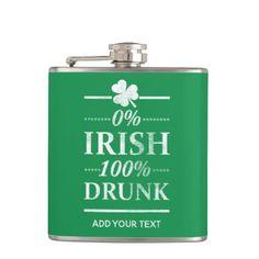 0% Irish 100% Drunk Funny Vintage St. Paddys Day Flask - st patricks day gifts Saint Patrick's Day Saint Patrick Ireland irish holiday party